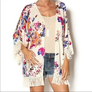 Umgee Floral Muticolor Fringe Kimono Shawl